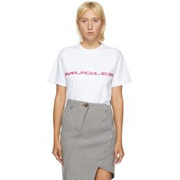 Mugler SSENSE Exclusive White and Pink Logo Oversized T-Shirt 20W3TS0054660