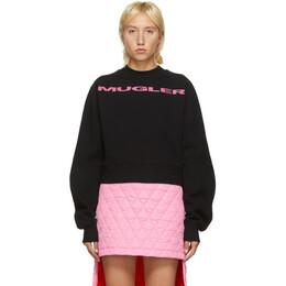 Mugler SSENSE Exclusive Black and Pink Logo Cropped Sweatshirt 20W3SW0025656