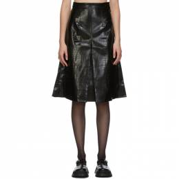 Shushu/Tong Black Faux-Leather Croc Single Pleat Skirt aw20sk02