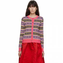 Comme Des Garcons Girl Pink Wool Jacquard Cardigan NF-N007-051