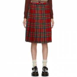 Comme Des Garcons Girl Red Wool Tartan Midi Skirt NF-S005-051