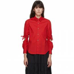 Comme Des Garcons Girl Red Poplin Arm Hole Shirt NF-B007-051