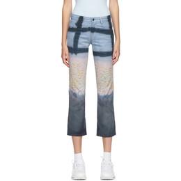Collina Strada Blue Floral Grid Five-Pocket Jeans XX6280