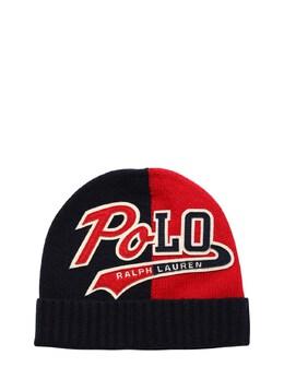 Knit Beanie Hat W/ Logo Patch Ralph Lauren 72IXEU095-MDAx0
