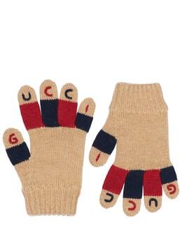 Трикотажные Шерстяные Перчатки С Вышитым Логотипом Gucci 72IFHA009-OTg2OA2