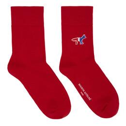Maison Kitsune Red Tricolor Fox Socks EU06400KT0044