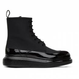 Alexander McQueen Black Coated Hybrid Lace-Up Boots 625185WHYK2