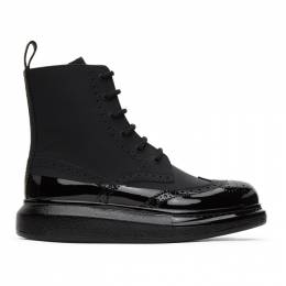 Alexander McQueen Black Perforated Hybrid Lace-Up Boots 628810WHYK2