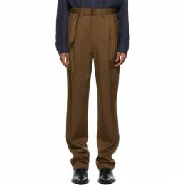 Lemaire Brown Wool Belted Pleat Trousers M 203 PA151 LF490
