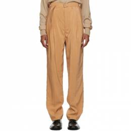 Lemaire Tan Silk Belted Pleat Trousers M 203 PA151 LF208