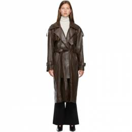 Low Classic Brown Faux-Leather Trench Coat LOW20FW_CT15BR