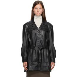 Low Classic Black Faux-Leather Classic Shirt Coat LOW20FW_SH06BK
