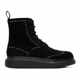 Alexander McQueen SSENSE Exclusive Black Suede Studded Hybrid Boots 634052WHBGL1081