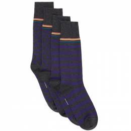 Paul Smith Two-Pack Grey and Purple Stripes and Dots Socks M1A-SOCK-A2PKOD