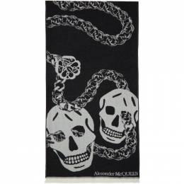Alexander McQueen Black and White Wool Oversized Skull Scarf 6305863200Q