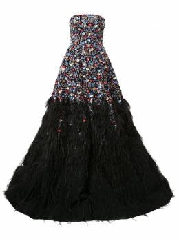 Saiid Kobeisy платье с отделкой перьями COUTURE18