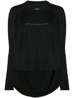 Mm6 Maison Margiela топ с закругленным подолом и вышивкой S62HA0034S17576
