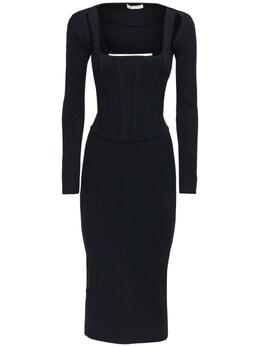 Viscose Blend Corset Dress Dion Lee 72IXYP013-QkxBQ0s1