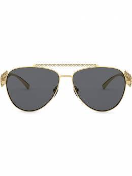 Versace Eyewear солнцезащитные очки-авиаторы с декором Medusa VE2219B100287