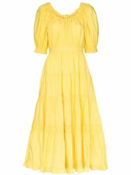 Ulla Johnson расклешенное платье Colette с пышными рукавами PF200103