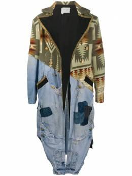 Greg Lauren пальто с контрастными вставками AM040