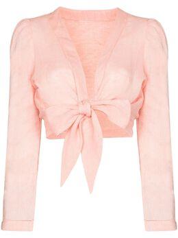 Lisa Marie Fernandez укороченная блузка с завязками 2020SP232PPLPINKLIGHTWEIGHTLINEN