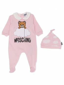 Moschino Kids комплект из ромпера и шапки Cloud Teddy Bear MUY02XLCE00