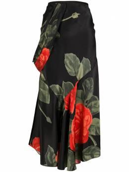Simone Rocha длинная юбка с драпировкой и цветочным принтом 30020393ROSESILK