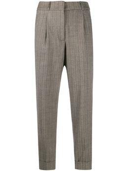 Peserico брюки в тонкую полоску с завышенной талией P0492602588