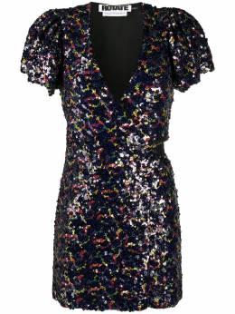 Rotate платье мини с запахом и пайетками 901075