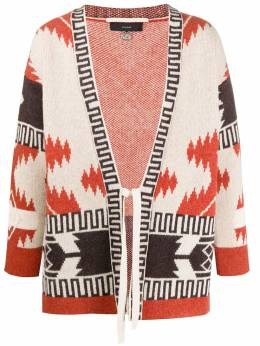 Alanui wool patterned cardigan kimono with front tie LMHC001F20KNI0021785