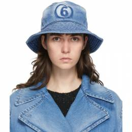 Mm6 Maison Margiela Blue Denim Bucket Hat S52TC0032 S30460