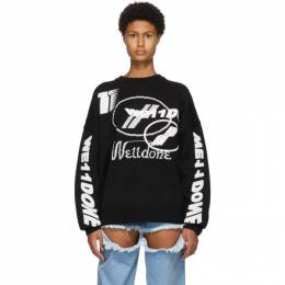 We11Done Black Wool Jacquard Logo Sweater WD-KO8-20-143-U-BK