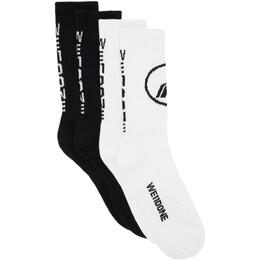 We11Done Two-Pack Black Sport Socks WD-AS8-20-180-U-BW