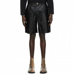 We11Done Black Faux-Leather Embossed Shorts WD-F28-20-082-M-BK