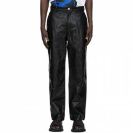We11Done Black Faux-Leather Embossed Trousers WD-F28-20-503-M-BK