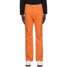 We11Done Orange Embossed Semi-Boot Cut Trouser WD-PT8-20-073-M-OR