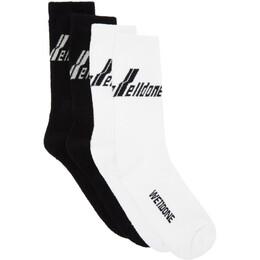 We11Done Two-Pack Black Logo Socks WD-AS8-20-181-U-BW