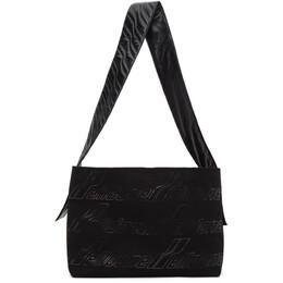 We11Done Black Canvas Maxi Logo Messenger Bag WD-AB8-20-140-U-BK