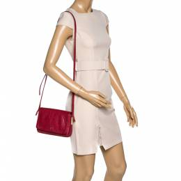 Aigner Red Croc Embossed Leather Crossbody Bag 321926