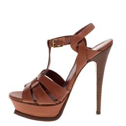 Yves Saint Laurent Brown Wood Effect Leather Tribute Platform Sandals Size 36.5 321434