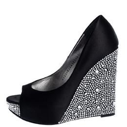 Gina Black Satin Belle Crystal Embellished Wedge Peep Toe Platform Pumps Size 38.5 320421