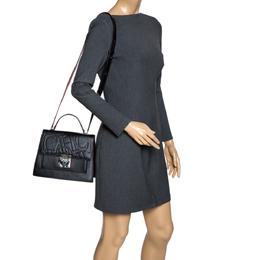 Carolina Herrera Black Embossed Leather Top Handle Bag 320424
