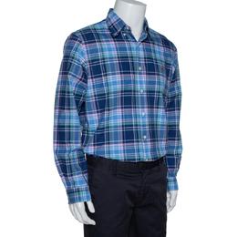 Ralph Lauren Blue Madras Check Cotton Long Sleeve Shirt L 320357
