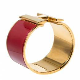 Hermes Clic Clac H Extra Wide Red Enamel Gold Plated Bracelet PM 321002