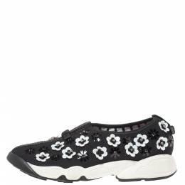 Dior Black Mesh Neoprene Fusion Embellished Low-Top Sneakers Size 38.5 318995
