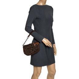 Prada Brown Fabric and Learher Shoulder Bag 319823