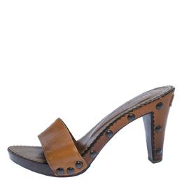 Yves Saint Laurent Brown Leather Wooden Slide Sandals Size 38 322923