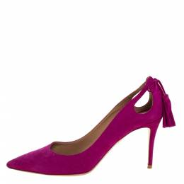 Aquazzura Pink Suede Leather Tassel Pointed Toe Pumps Size 38 320988