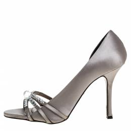 Le Silla Grey Satin Crystal Embellished Strappy Sandals Size 38 320746